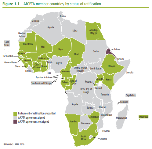 AfCFTA is the largest global free trade area by countries participating
