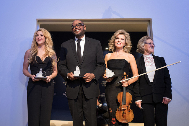 Shakira Mebarak, UNICEF Global Ambassador, Forest Whitaker, Anne-Sophie Mutter, Violinist, Germany and Hilde Schwab, Chairperson and Co Founder, Schwab Foundation for Social Entrepreneurship, Switzerland.during the 2017 Crystal Award