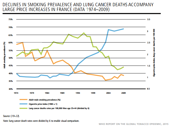 Declines in smoking prevalence and lung cancer deaths accompany large price increased in France