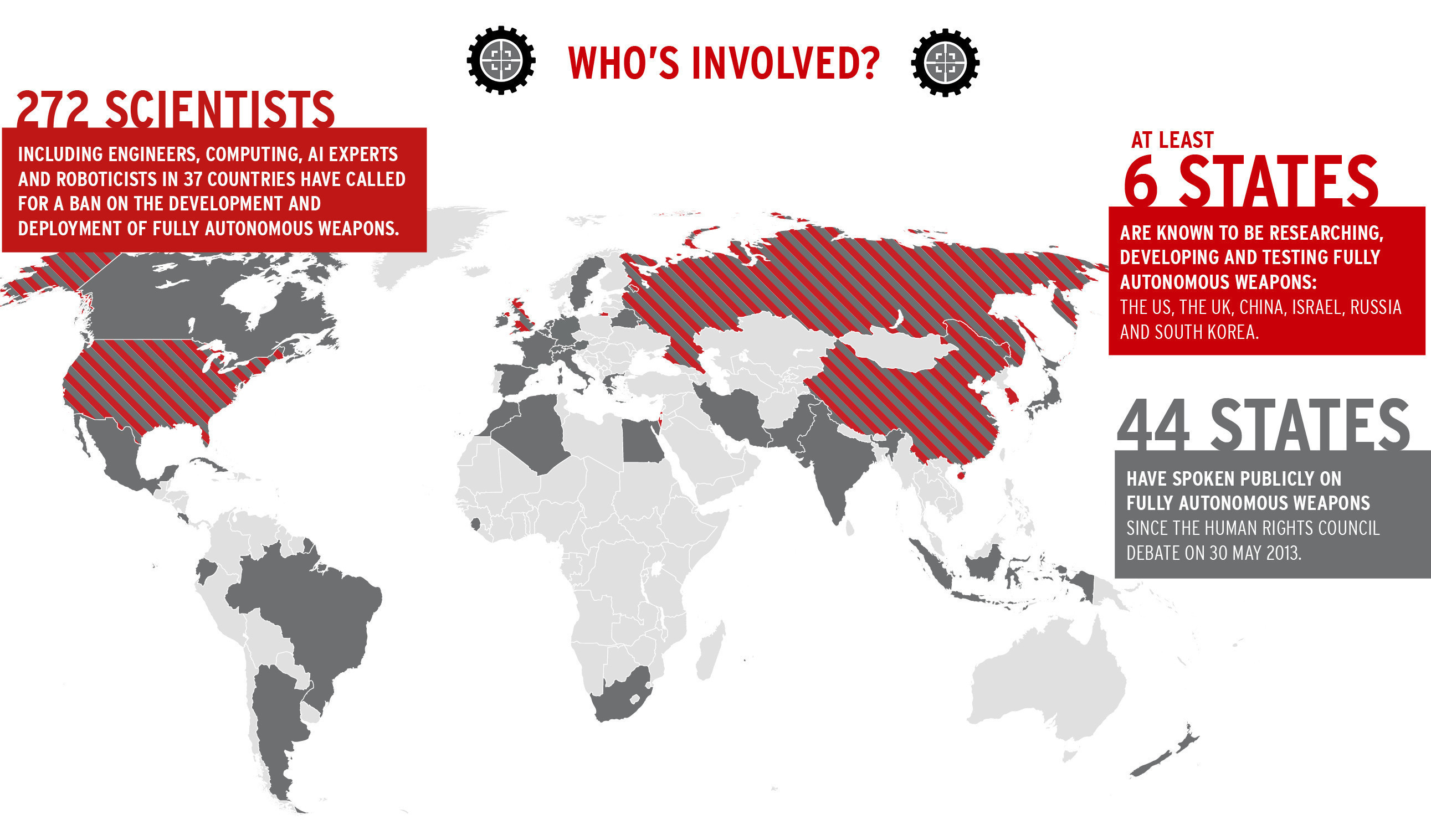 Campaign to stop killer robots world map