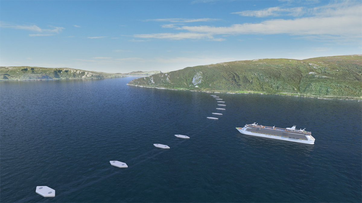 The submerged tubes would be steadied by being attached to pontoons on the surface of the sea.