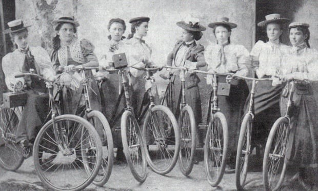 A vintage photograph of women cyclists
