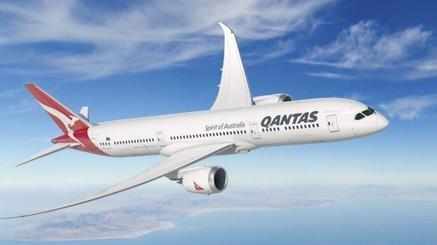 A mock-up of a Boeing 787-9 Dreamliner in Qantas livery