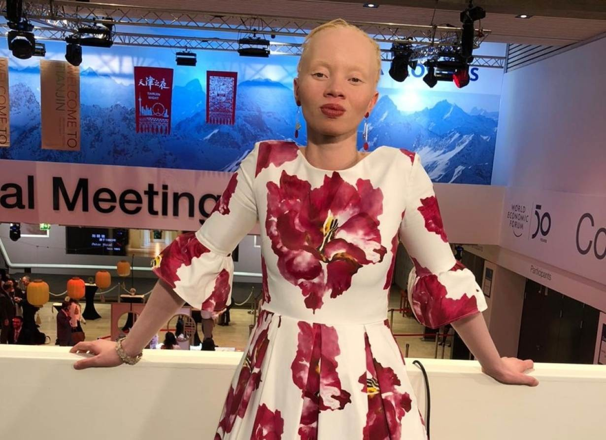 South African model and activist Thando Hopa poses at the World Economic Forum (WEF) annual meeting in Davos, Switzerland on January 22, 2020.