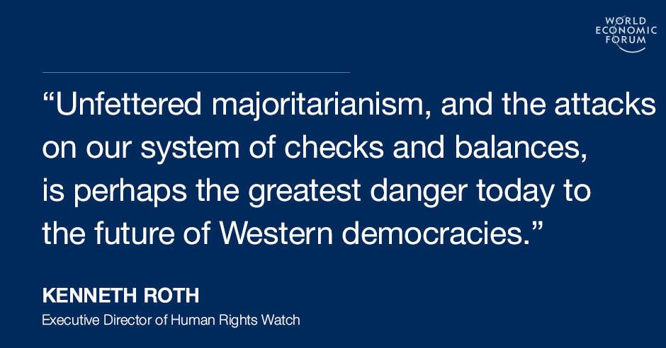 Αδέσμευτος πλειοψηφισμός, και οι επιθέσεις στο σύστημα ελέγχων και ισορροπιών, είναι ίσως ο μεγαλύτερος κίνδυνος σήμερα για το μέλλον των δυτικών δημοκρατιών