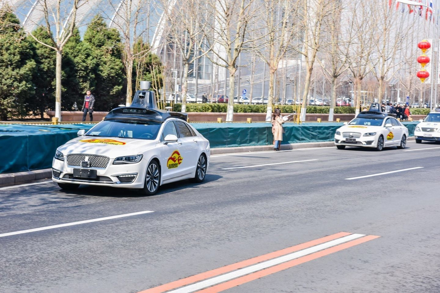 Baidu's driverless cars being tested.