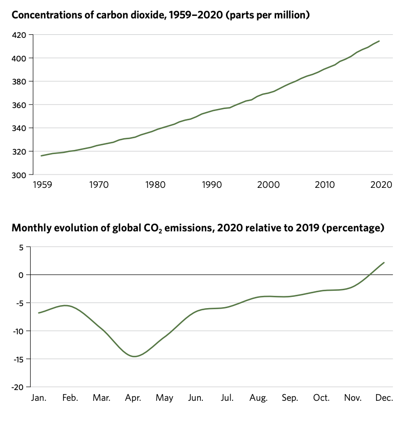 Carbon emissions in 2020 vs 2019