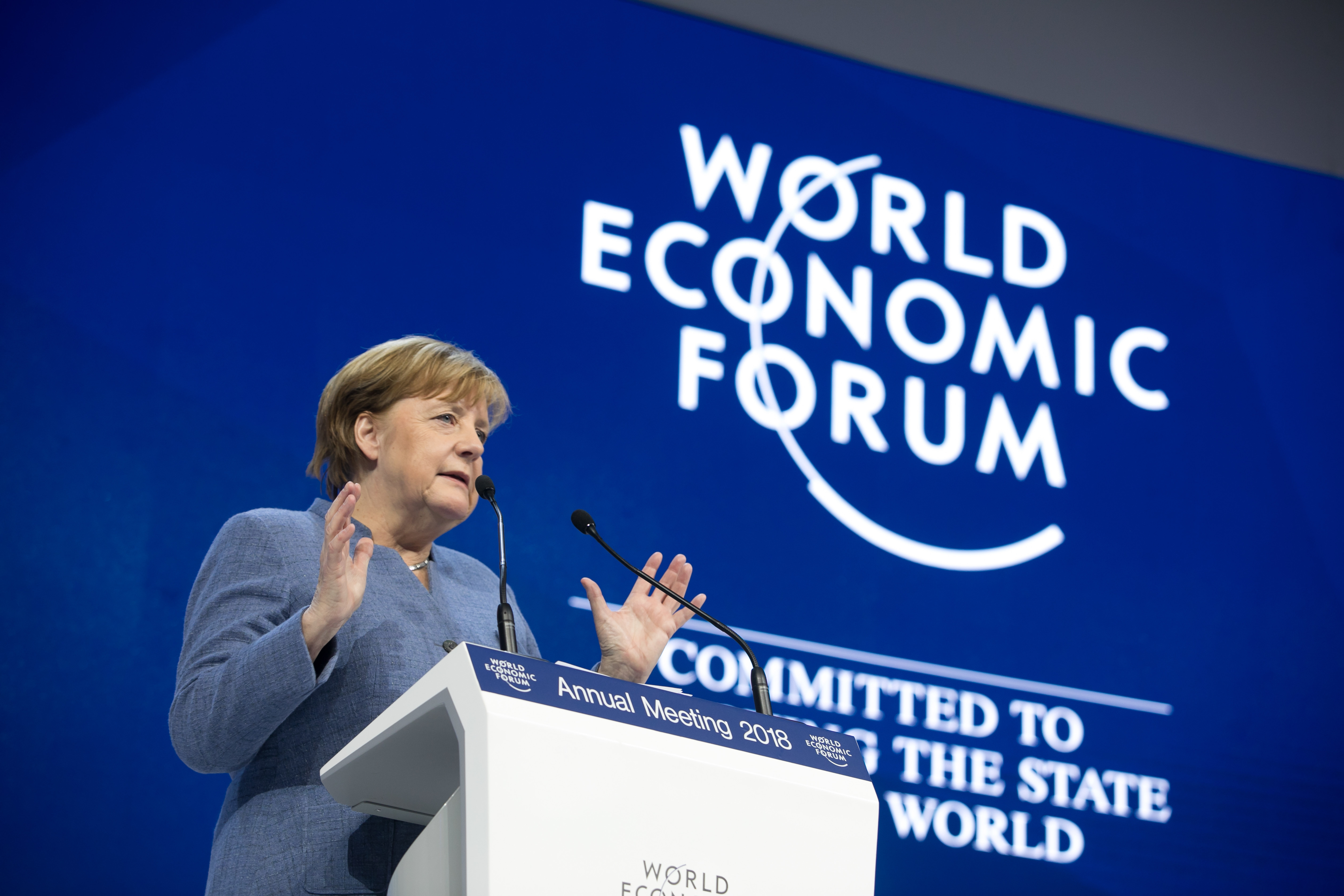 Angela Merkel, Federal Chancellor of Germany speaking during the session Special Address by Angela Merkel, Chancellor of Germany, at the Annual Meeting 2018 of the World Economic Forum in Davos, January 24, 2018. Copyright by World Economic Forum / Ciaran McCrickard