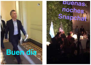 A snapchat of the Argentinan President's daily meetings.