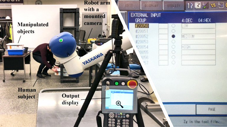 The researchers had a robot (white arm) monitor participants performing activities in a warehouse-like setting. At the end of each activity, the robot showed a score on its display (right).