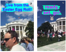 A snapchat of the annual White House Easter egg roll.
