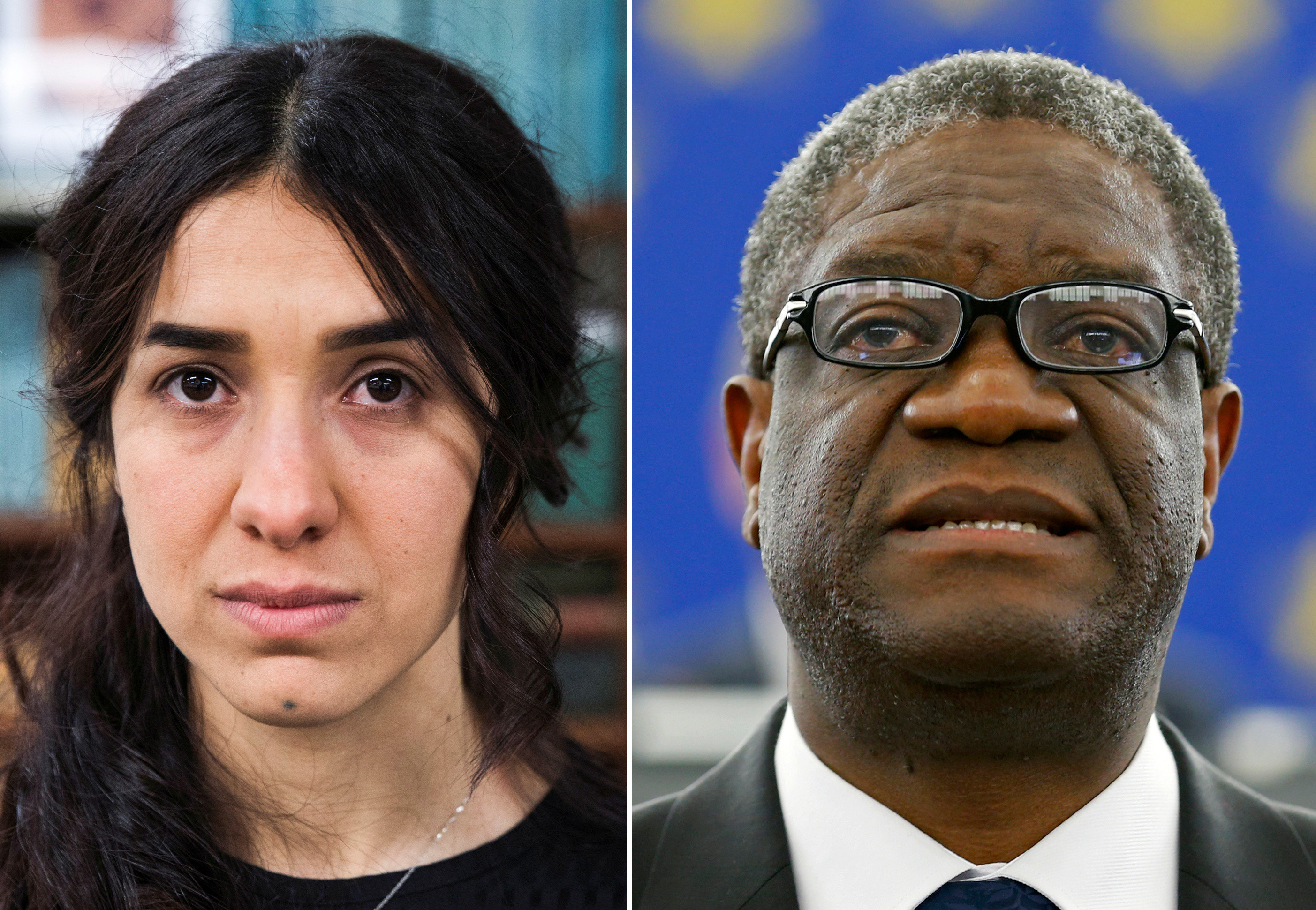 A combination picture shows the Nobel Prize for Peace 2018 winners: Yazidi survivor Nadia Murad posing for a portrait at United Nations headquarters in New York, U.S., March 9, 2017 (L) and Denis Mukwege delivering a speech during an award ceremony to receive his 2014 Sakharov Prize at the European Parliament in Strasbourg November 26, 2014. REUTERS/Lucas Jackson/Vincent Kessler/File photos - RC19678F7730