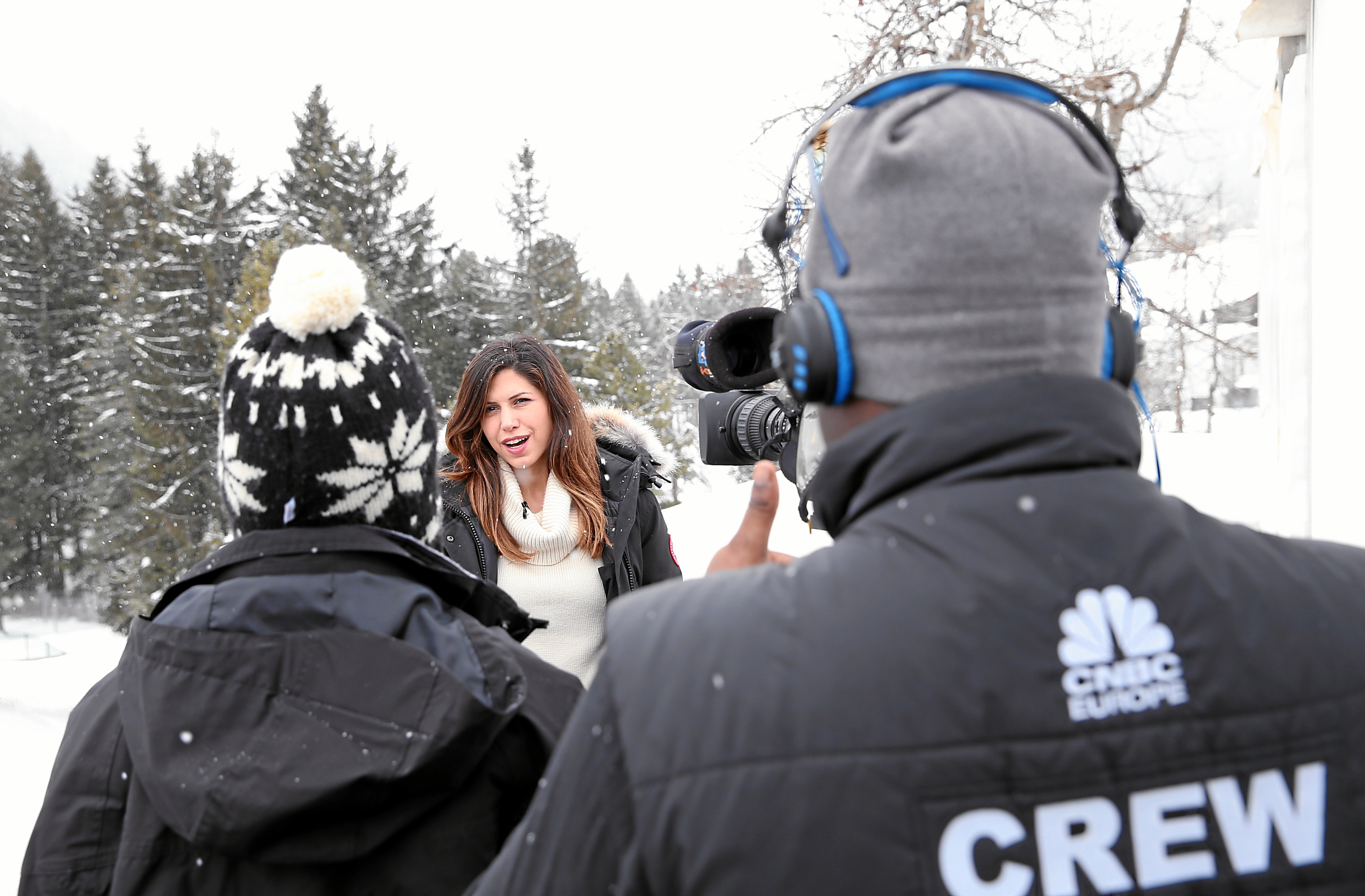 A CNBC television team is reporting from the Annual Meeting 2014 of the World Economic Forum outside the congress centre in Davos, January 21, 2014.