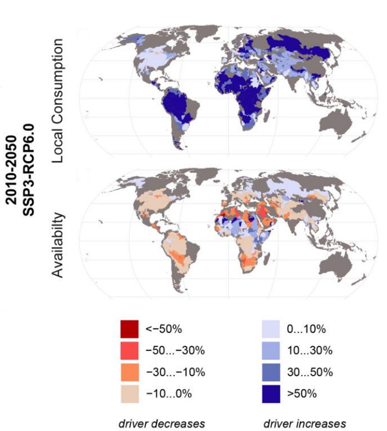 The percentage changes in local water consumption (top) and availability (bottom) in 2050 when compared to 2010