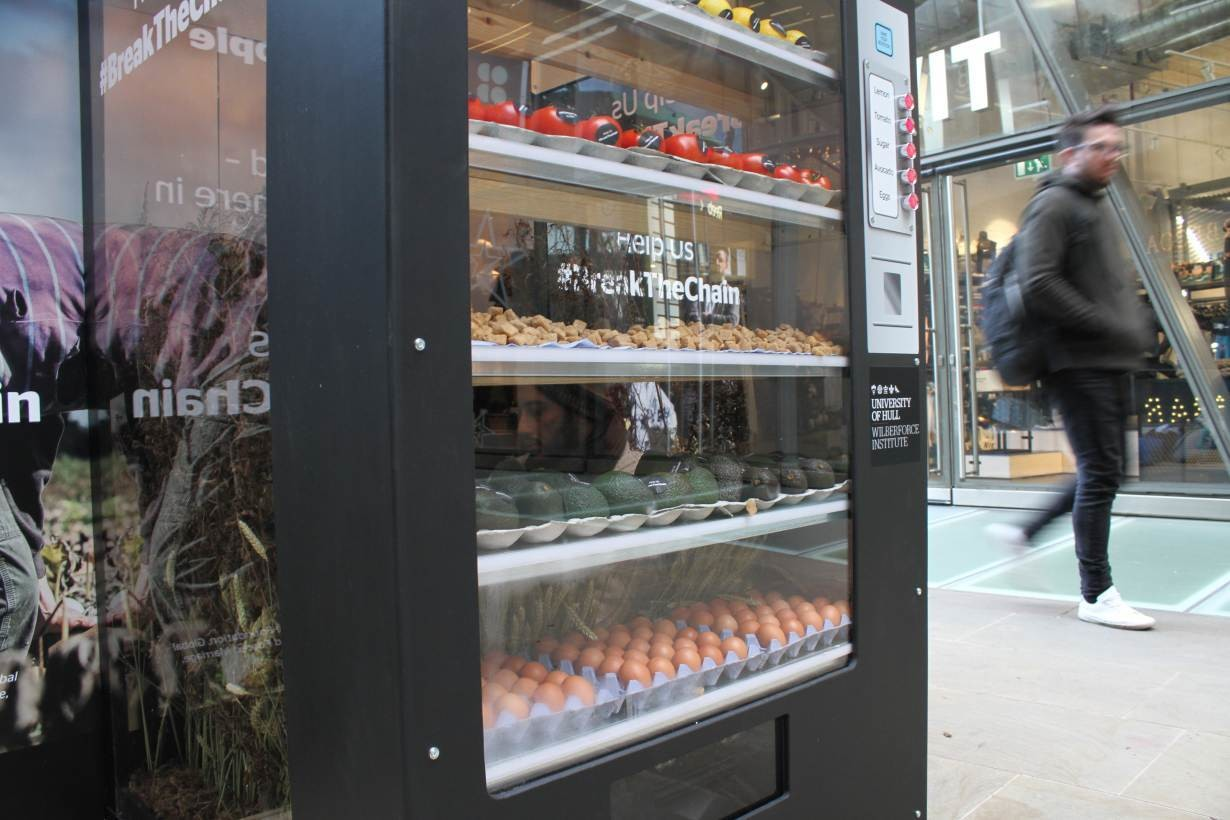 A 'human' vending machine highlighting modern slavery in Britain, launched by the Wilberforce Institute at the University of Hull, is seen in central London, Britain,
