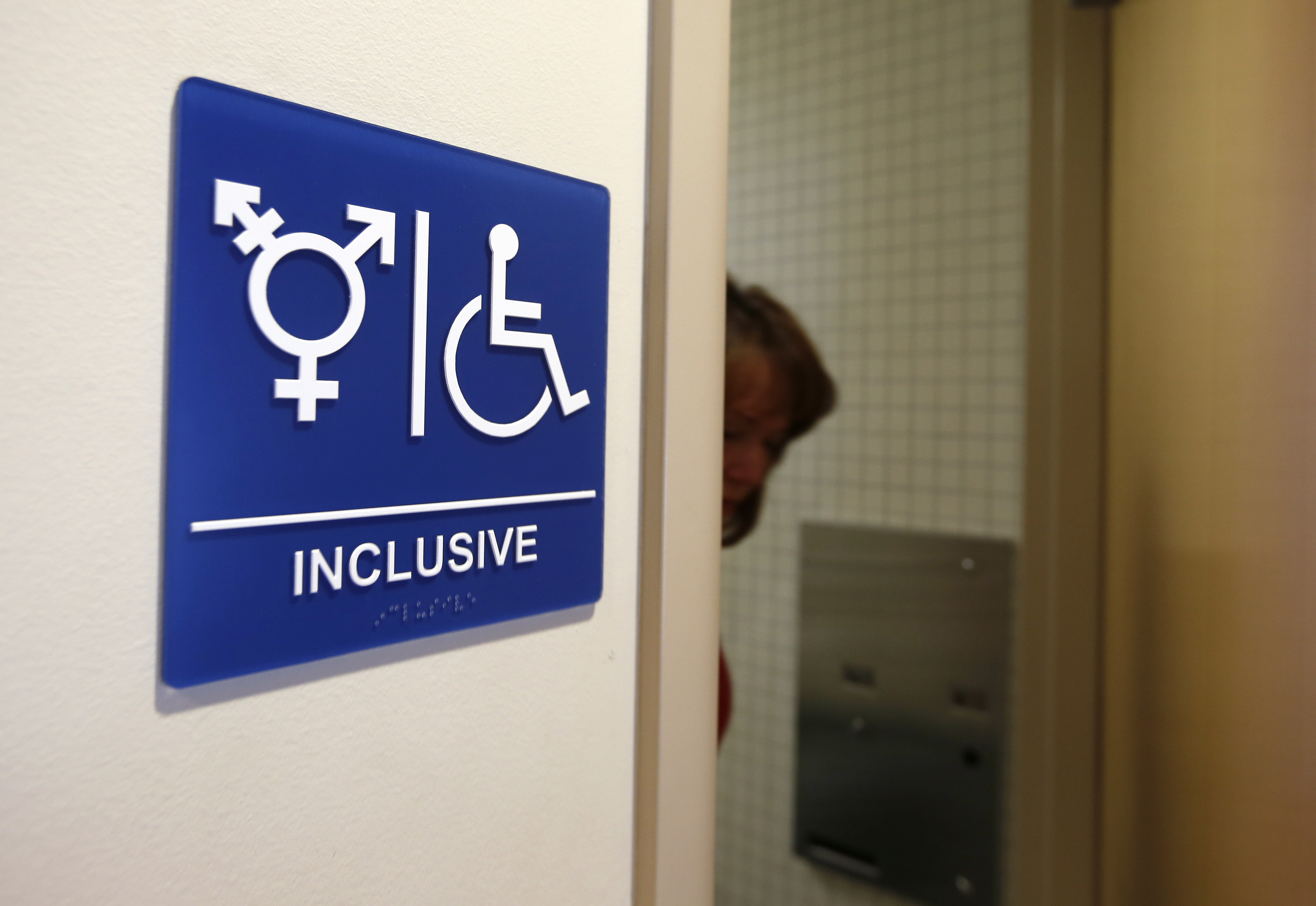 A gender-neutral bathroom is seen at the University of California, Irvine in Irvine, California September 30, 2014. The University of California will designate gender-neutral restrooms at its 10 campuses to accommodate transgender students, in a move that may be the first of its kind for a system of colleges in the United States.  REUTERS/Lucy Nicholson (UNITED STATES - Tags: EDUCATION SOCIETY POLITICS) - RTR48EXX