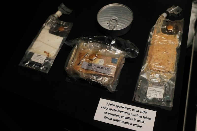 Examples of space food used during the Apollo missions are displayed at the Cradle of Aviation Museum in Garden City, New York, U.S., July 17, 2019. REUTERS/Lucas Jackson - RC1F4DB6DB90
