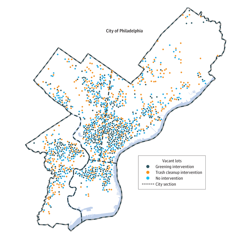 Distribution of Study Vacant Lots Across Philadelphia, Pennsylvania