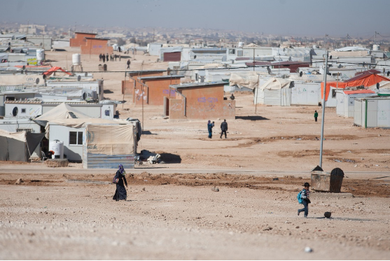 The Al Za'atari refugee camp in Jordan hosts around 80,000 Syrian refugees.