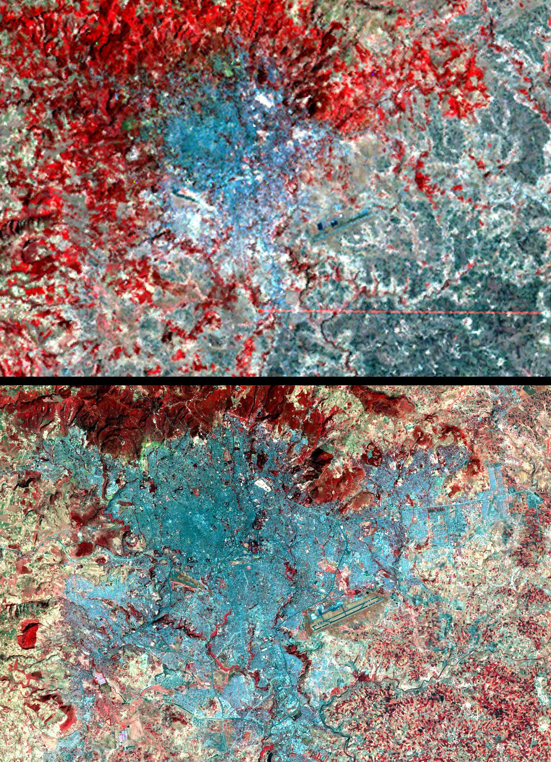 Addis Ababa seen from space, in 1973 and 2007.