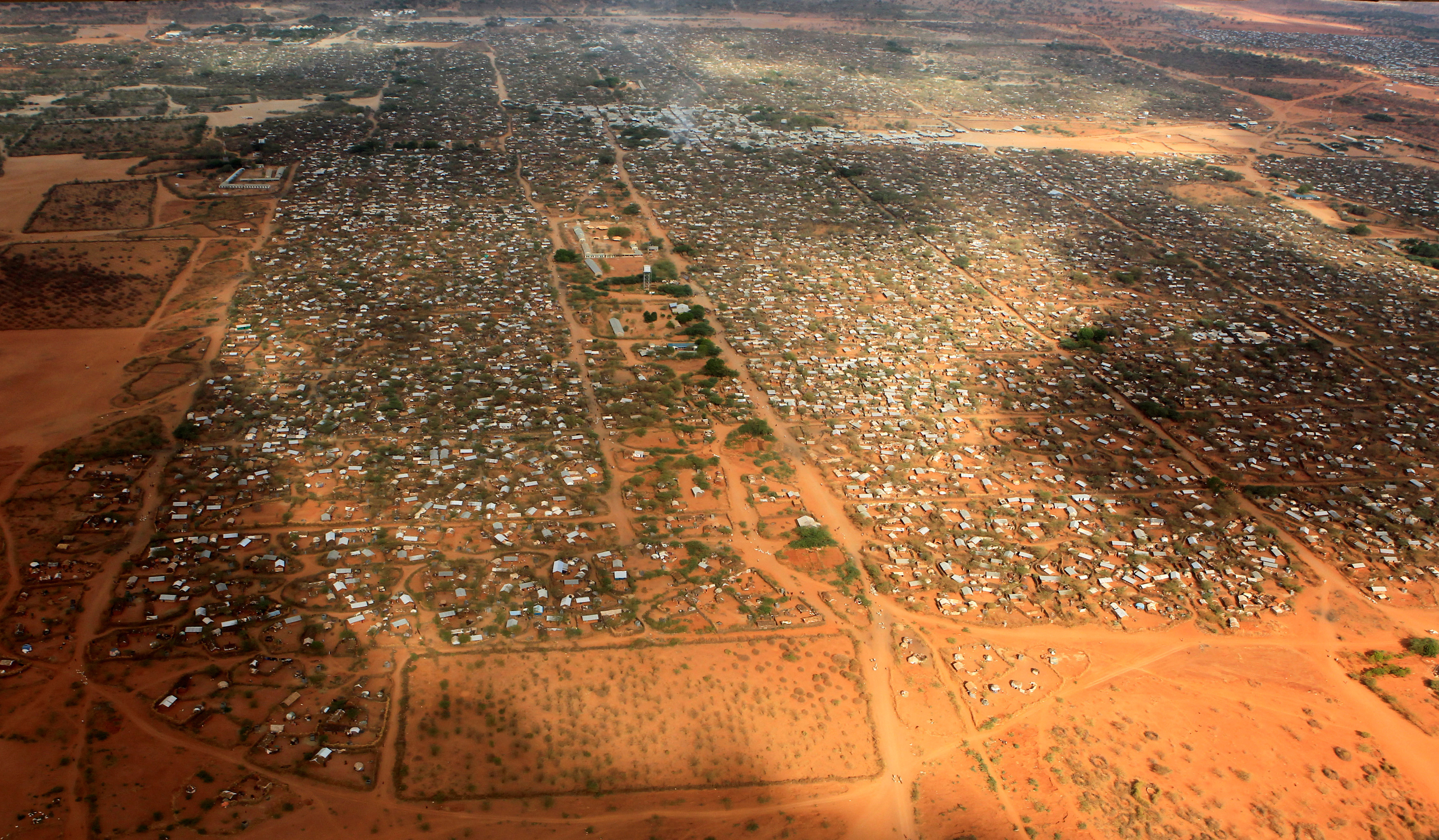 An aerial view shows makeshift shelters at the Dagahaley camp in Dadaab, near the Kenya-Somalia border in Garissa County, Kenya
