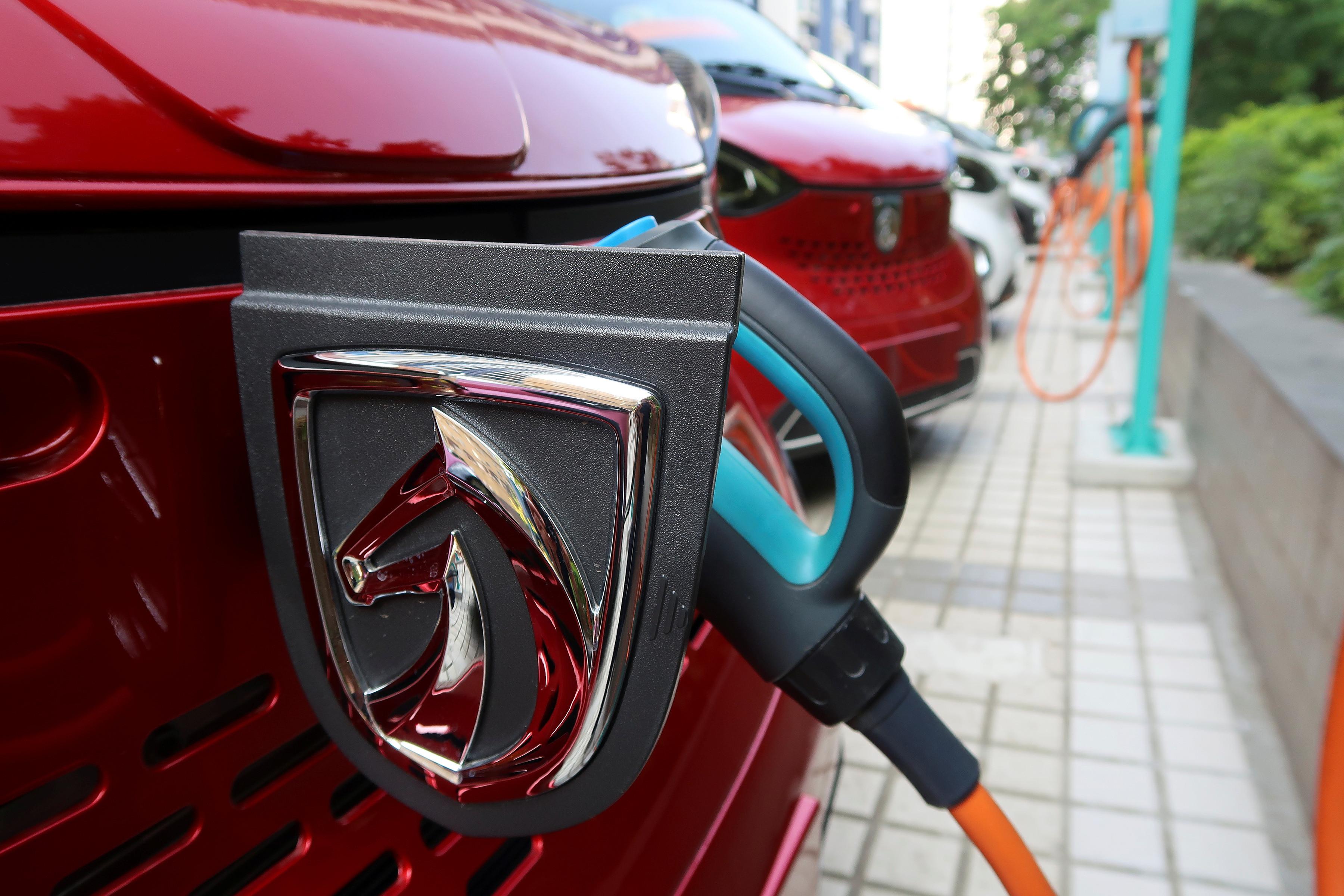 A Baojun E100 electric vehicle is charged in Liuzhou, China.