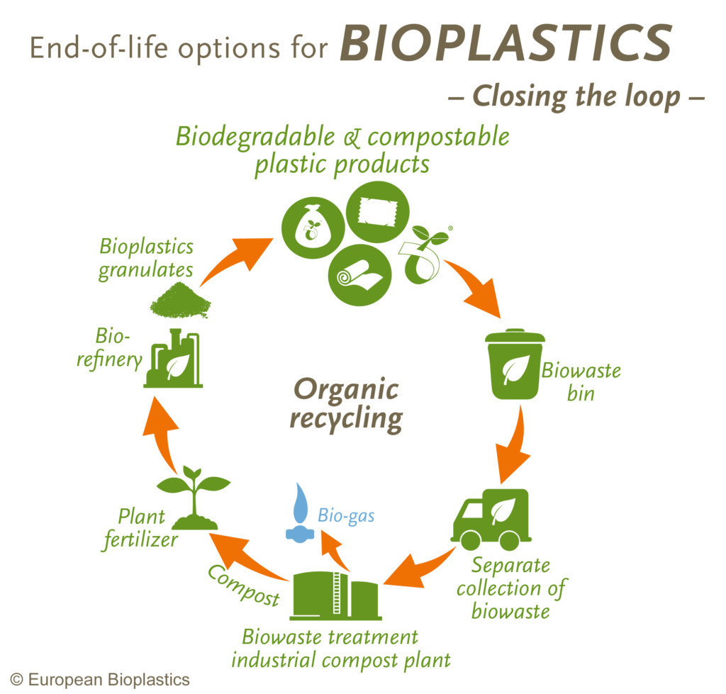 Circular flow chart showing end-of-life options for biodegradable and compostable plastics.