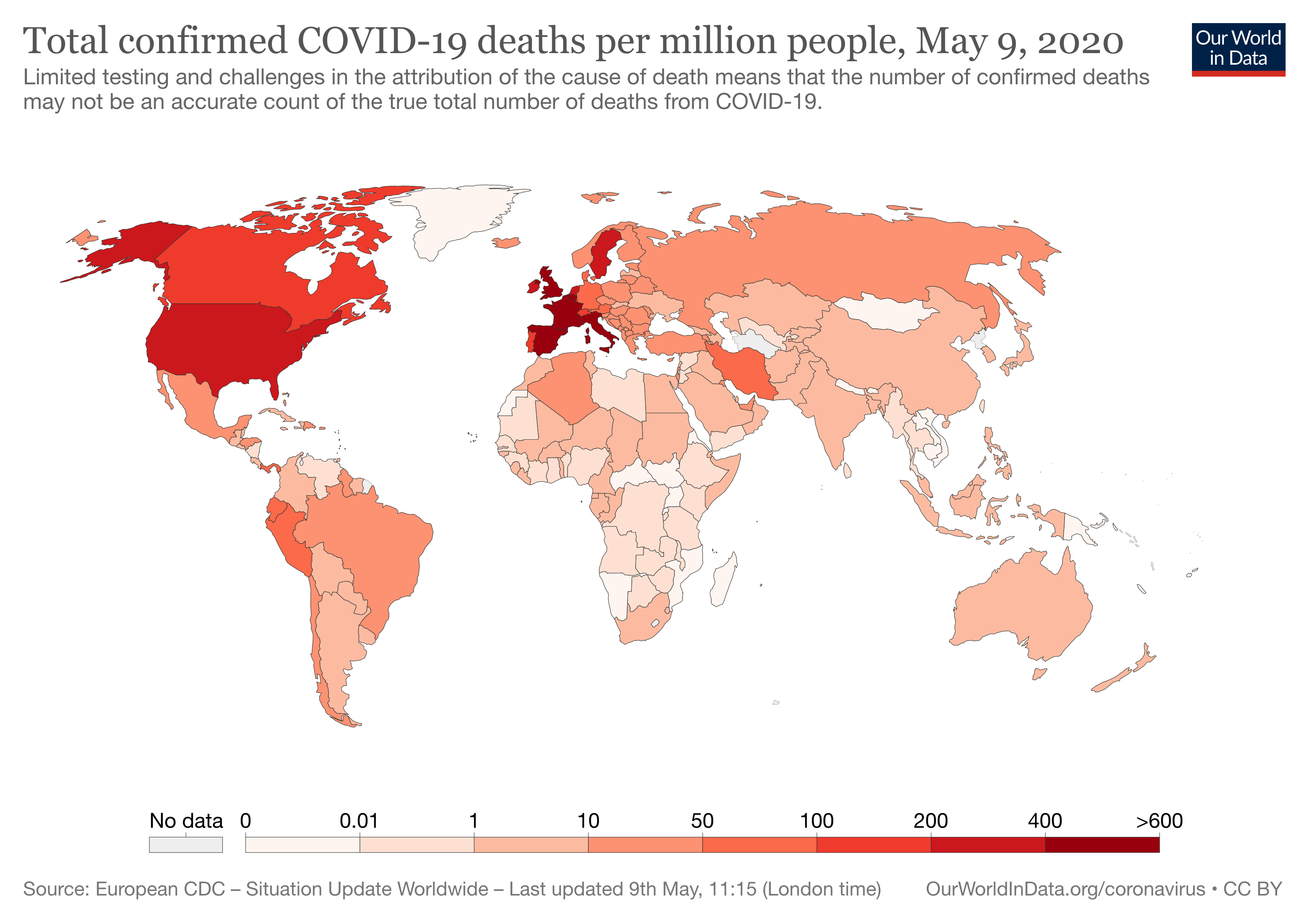 Total confirmed COVID-19 deaths per million people, May 9, 2020