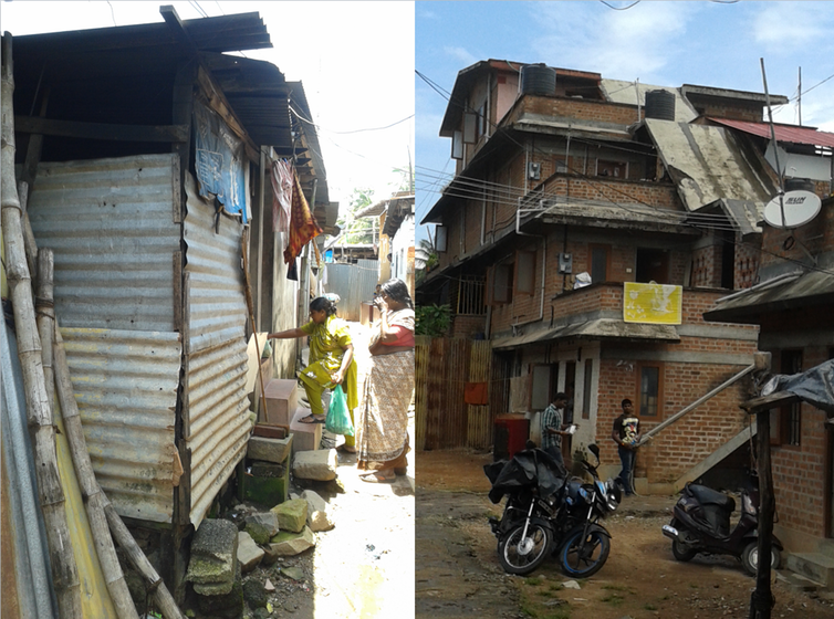 Images of informal and formal housing in India, 2014.