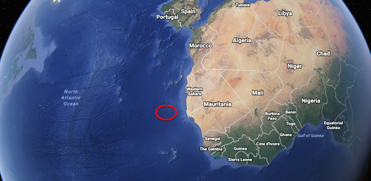 The submerged mountain, 'Tropic Seamount', lies off the coast of north-west Africa.