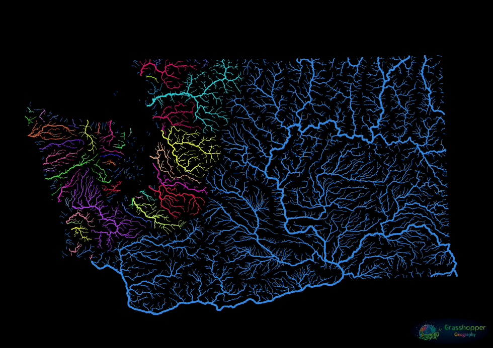 Even leaving out the Mississippi, there's enough going on in the rest of North America to keep the eye occupied. Here's a drainage map of Washington State. The big fish in this much smaller pond is the Columbia River (drainage area in blue), the largest river in the Pacific Northwest. Only in the western third of the state is there a colourful counterpoint, in the multitude of smaller river basins that are draining into the Pacific or into Puget Sound. Image: Grasshopper Geography