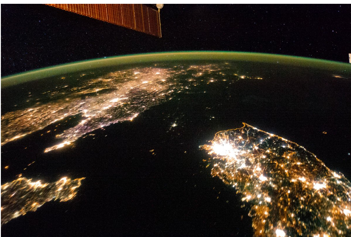 Widespread poverty in North Korea plunges the country into darkness at night.