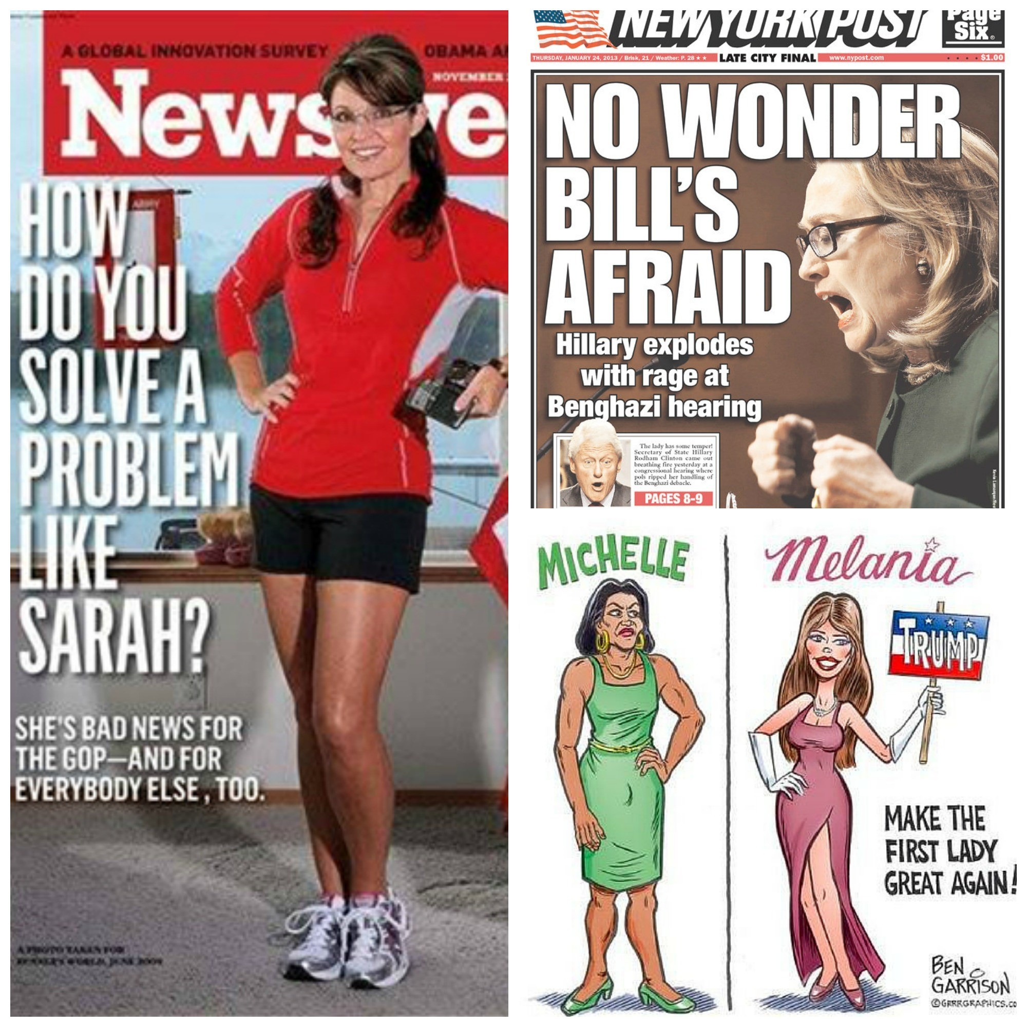 Images showing some of the media coverage women from across the political spectrum have had to endure.