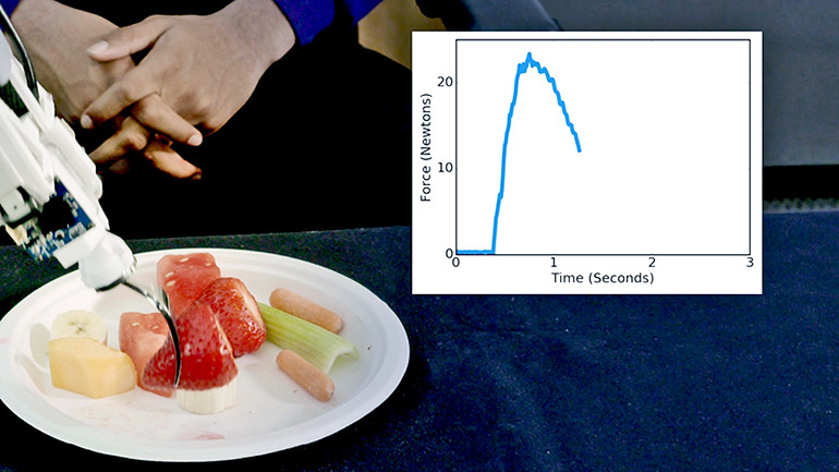 The robot adjusts how much force it uses to skewer a piece of food based on what kind of food it is.