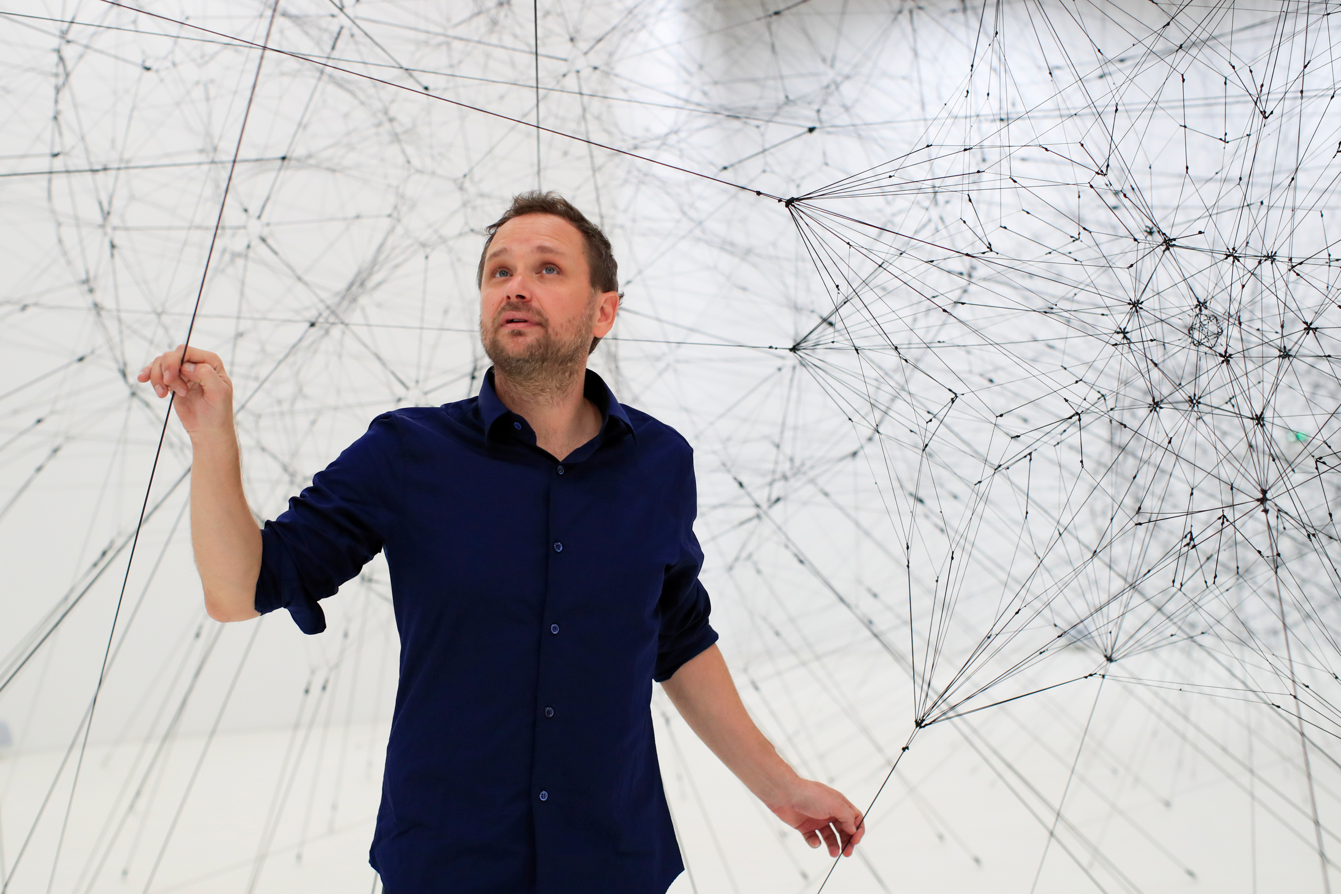 Tomás Saraceno, who suspended one of his Aerocenes inside the Conference Centre's main hall in 2017.
