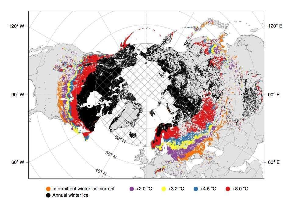 En orange : les lacs qui connaissent déjà un gel intermittent l'hiver. En violet, ceux qui seront affectés avec 2 °C en plus, en rouge : avec +8 °C.