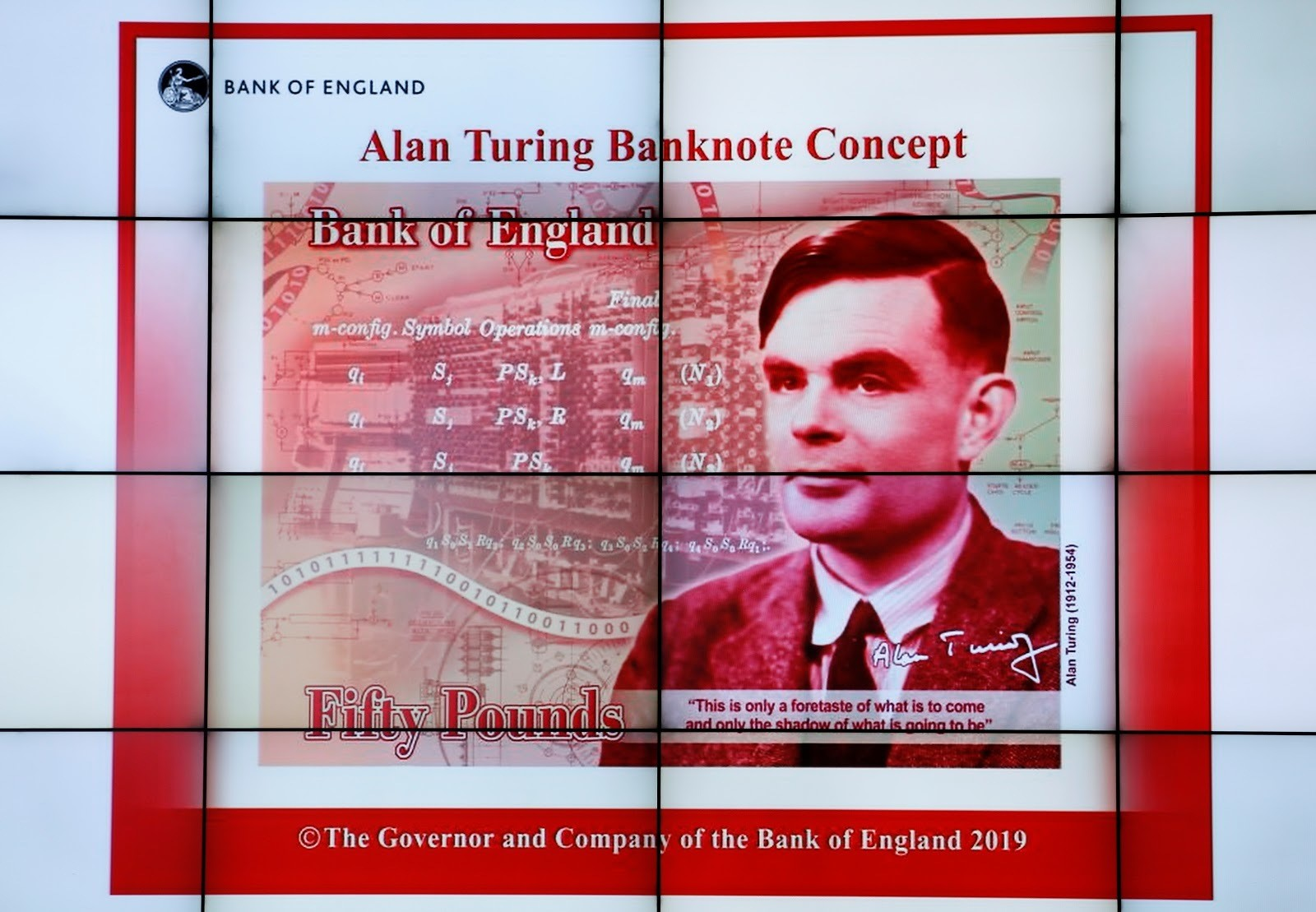 The banknote concept of a new 50 pond note featuring mathematician Alan Turing is presented at the Science and Industry Museum in Manchester, Britain.