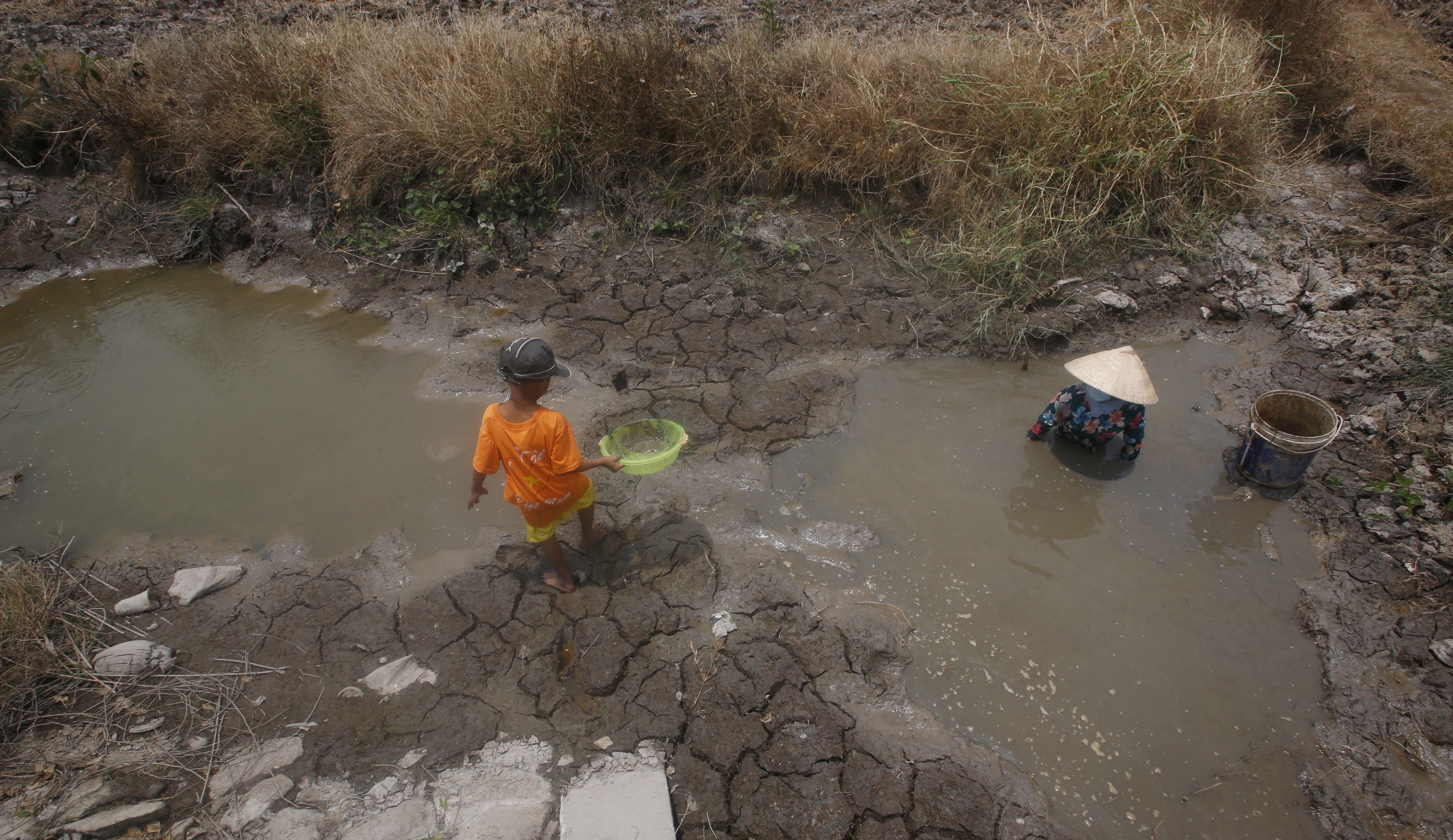 A woman and her son search for fish in the pools created by a drought irrigation system in Soc Trang province in the Mekong Delta, Vietnam March 30, 2016.