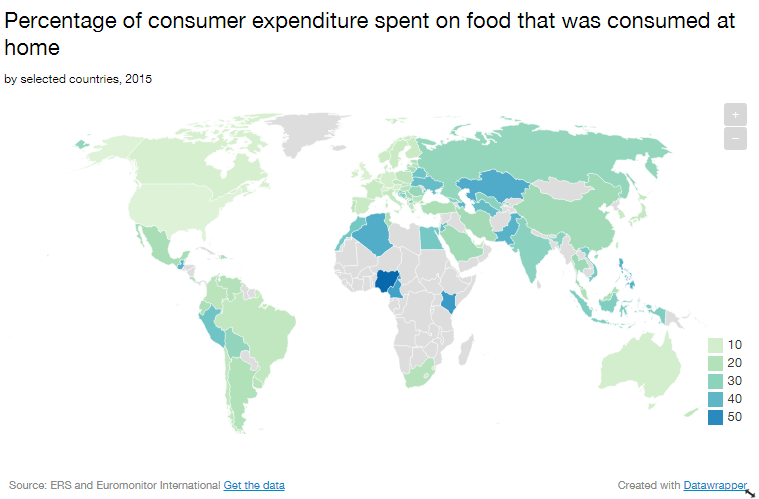This map shows how much each country spends on food | World