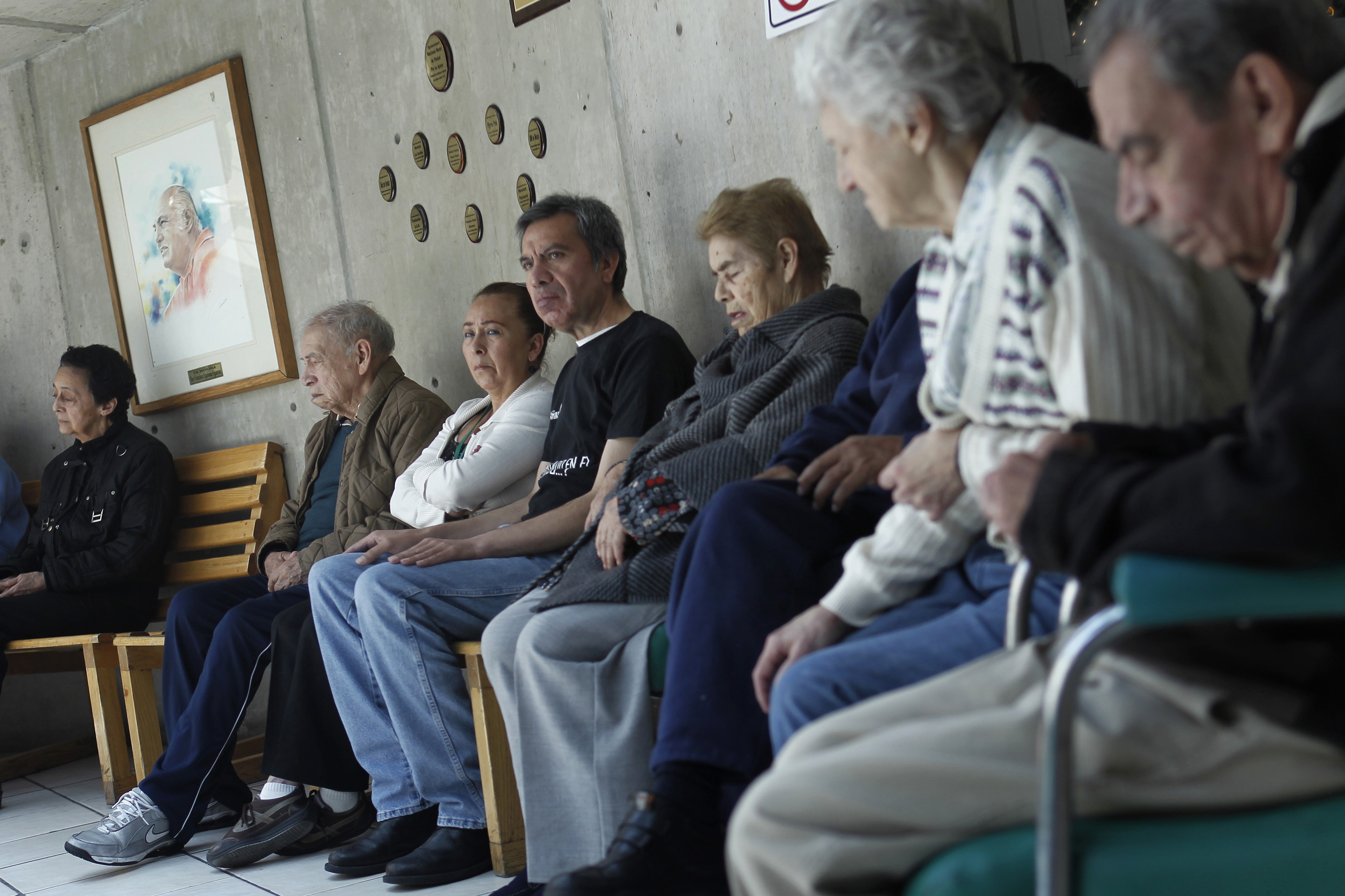 Patients with Alzheimer's and dementia are sit inside the Alzheimer foundation in Mexico City April 19, 2012