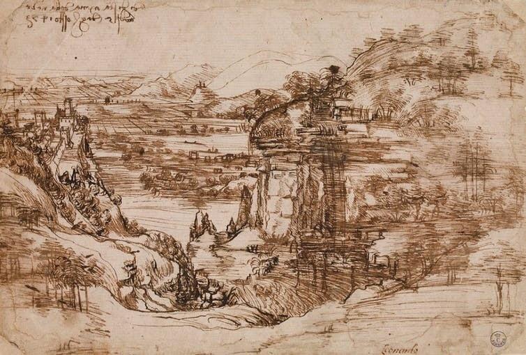 Landscape drawing for Santa Maria della Neve.