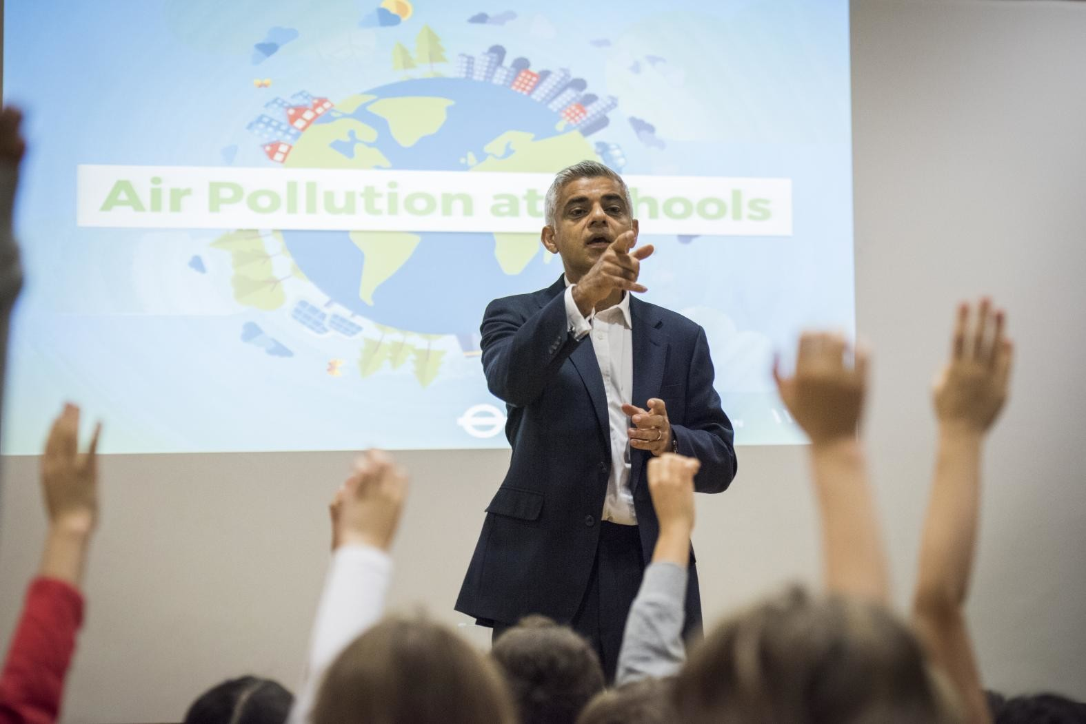 a picture of Mayor Sadiq Khan speaking at an event