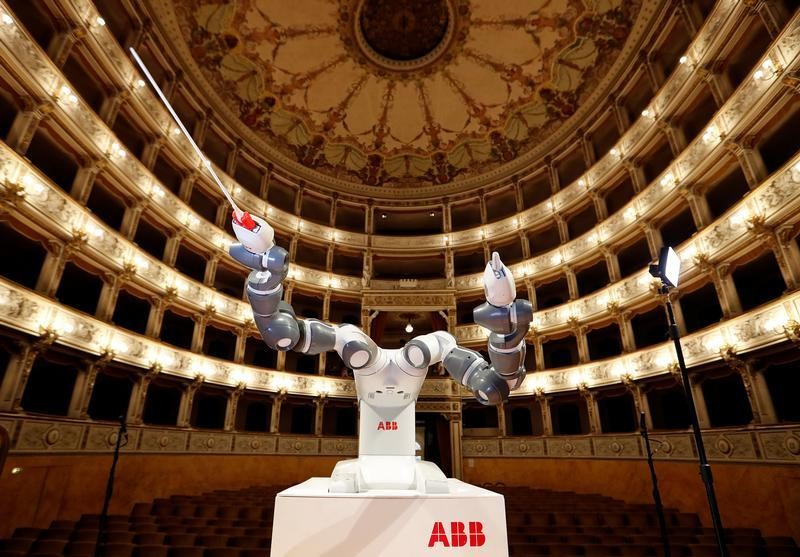 Humanoid robot YuMi is seen during the rehearsal at the Verdi Theatre in Pisa, Italy September 12, 2017.