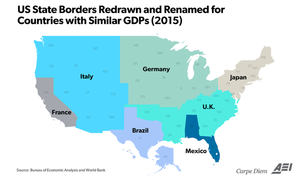 US state borders redrawn and renamed for countries with similar GDPs (2015)