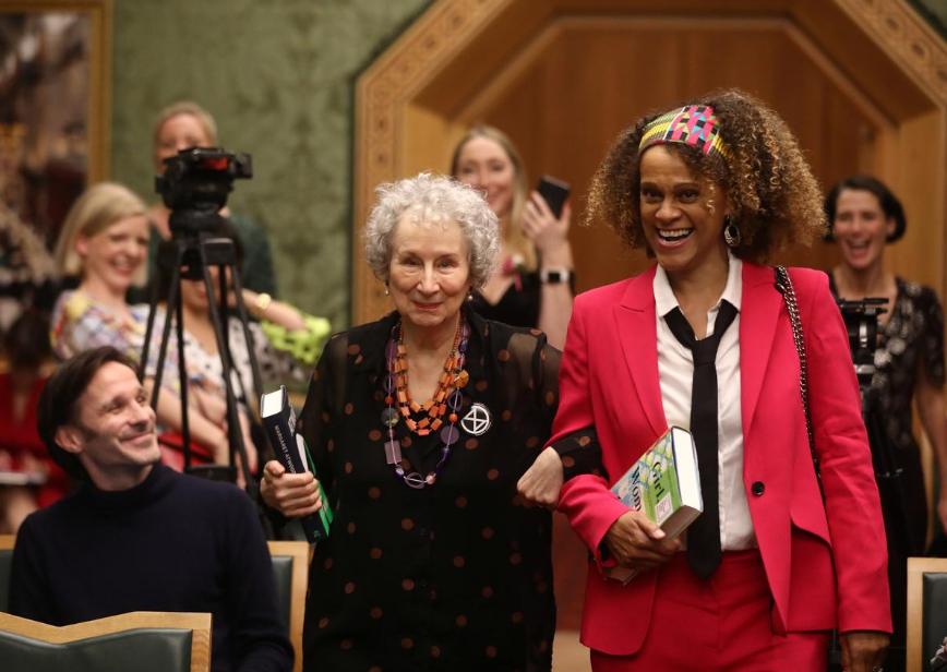 Margaret Atwood and Bernardine Evaristo jointly win the Booker Prize for Fiction 2019 at the Guildhall in London, Britain October 14, 2019.