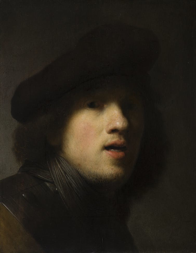 Rembrandt van Rijn, 'Self-Portrait', around 1629, oil on panel, Indianapolis Museum of Art at Newfields, Courtesy of The Clowes Fund, C10063.