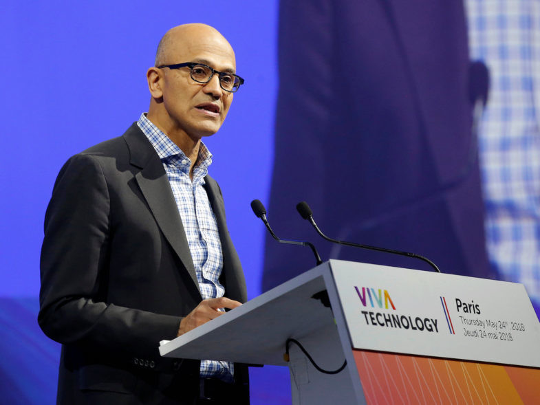 Microsoft CEO Satya Nadella speaks during the opening of the Viva Tech start-up and technology summit in Paris, France, May 24, 2018.    Michel Euler/Pool via Reuters