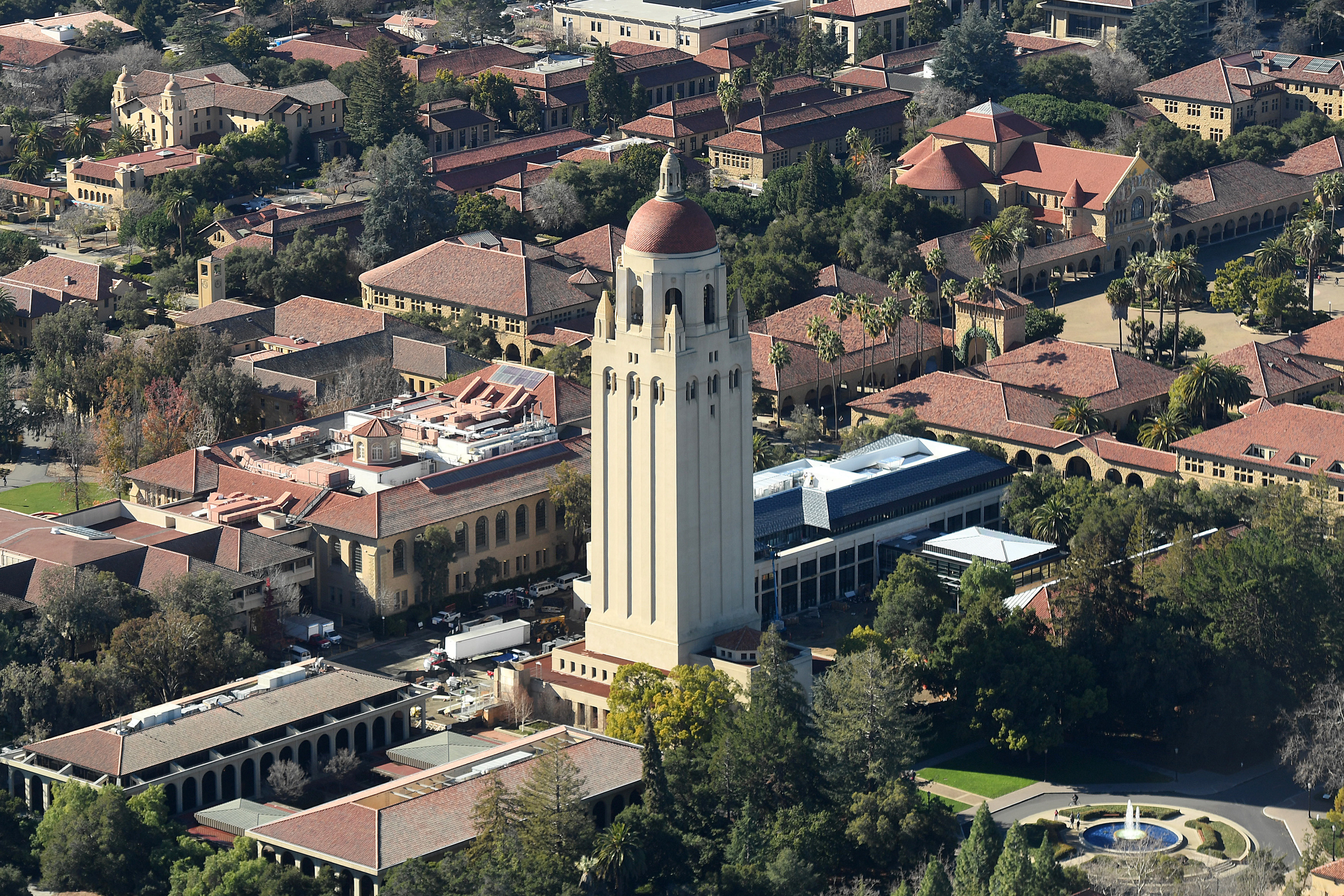 The Hoover Tower rises above Stanford University in this aerial photo in Stanford, California, U.S. on January 13, 2017. Picture taken January 13, 2017. REUTERS/Noah Berger - RC1EFE569C90