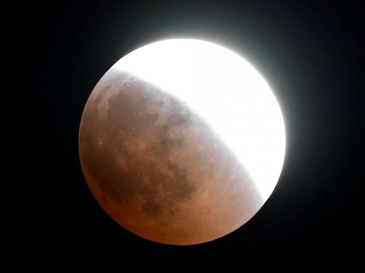 The moon is seen during a lunar eclipse over Cairo, Egypt, on July 27, 2018.