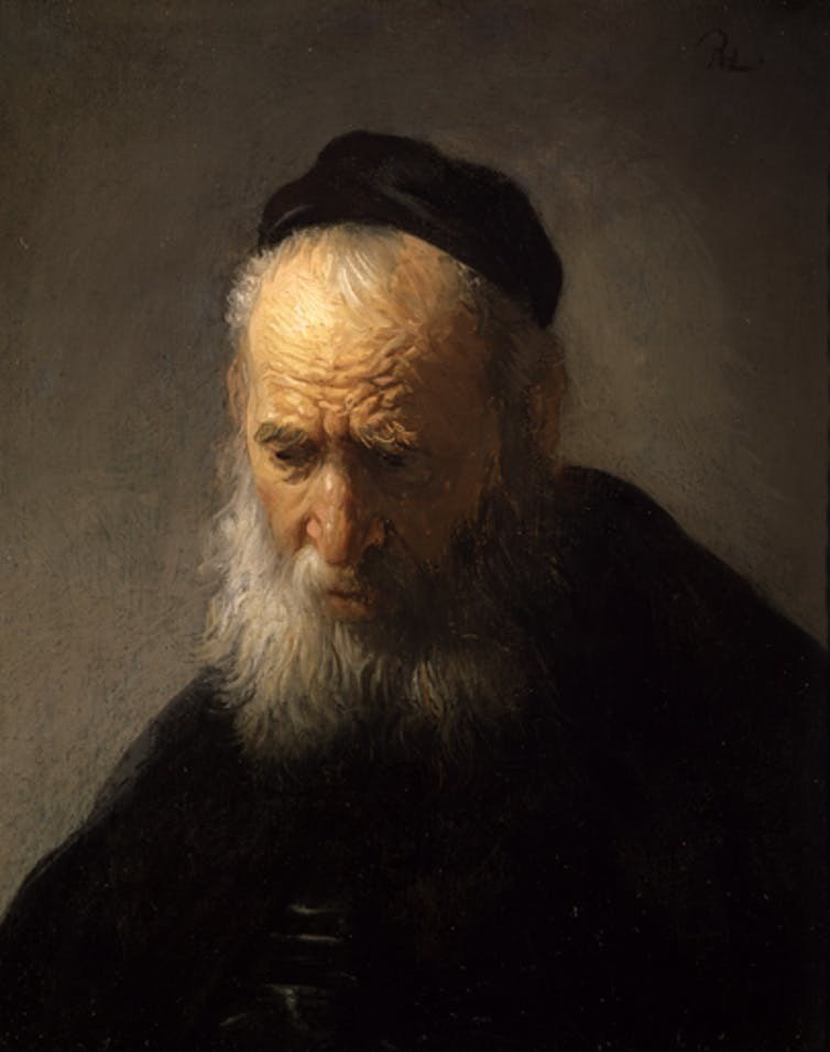 Rembrandt van Rijn, 'Head of an Old Man in a Cap c. 1630, oil on panel. John Glembin/Agnes Etherington Art Centre, Queen's University. Gift of Alfred and Isabel Bader, 2003